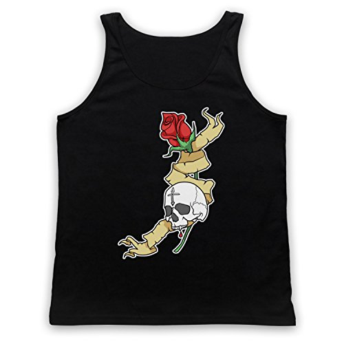 Skull & Rose Gothic Illustration Tank-Top Weste Schwarz