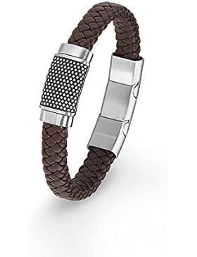 s.Oliver Herren-Armband 20+1,5 cm geflochten Edelstahl Leder 21.5 cm 2015053