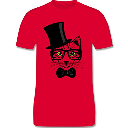 Katzen - Katze Hipster - Herren Premium T-Shirt Rot