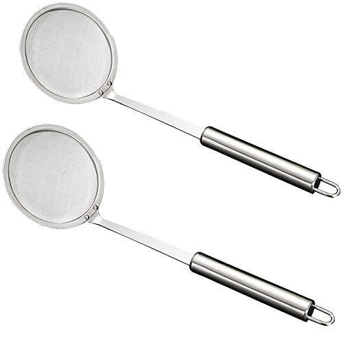 Teerfu - Cucchiaio con filtro in acciaio inox, per friggitrice di grasso profondo, filtro per olio, colino, mestolo a rete, utensile da cucina per pentole calde, friggitrici di grasso 2 pezzi Silver