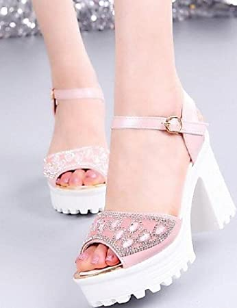 ShangYi Women's Shoes Breathe Freely Hollow Out Dazzling Chunky Heel Comfort Sandals Dress Blue / Pink / White , pink-us6 / eu36 / uk4 / cn36 , pink-us6 / eu36 / uk4 / cn36
