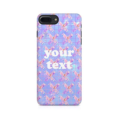 Personalized Custom Zitat Name Initiale Pastel Kawaii Acid Holographic Tie Dye Design Your Own Case Schutzhülle aus Hartplastik Handy Hülle Kompatibel mit iPhone 7 Plus/iPhone 8 Plus Case Hard Cover -