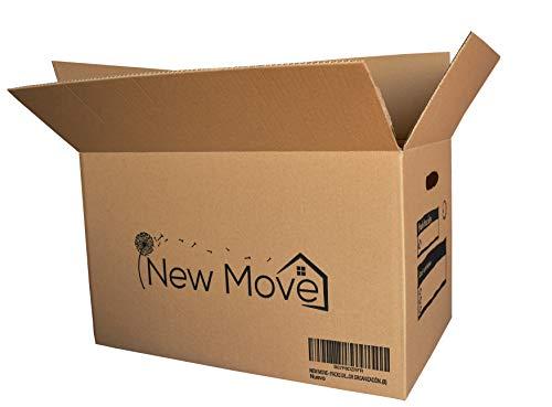 NEW MOVE - Pack de 8u. 500x300x300mm- Canal doble muy resistentes con asas para mejor transporte- Cajas mudanza, transporte, almacenaje- Dibujo impreso para mejor organización