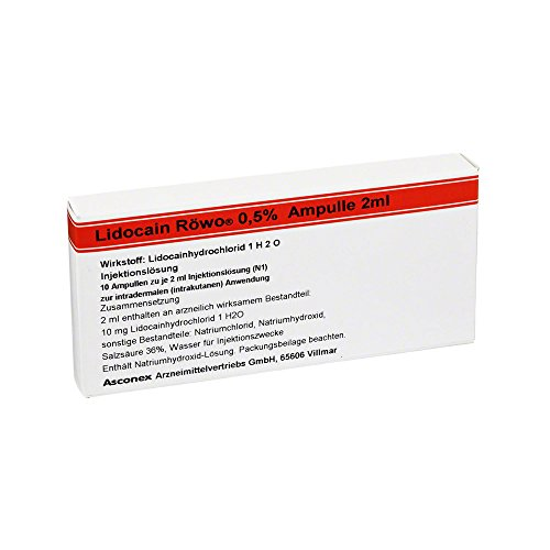 Lidocain Röwo 0,5% Ampullen 2 Ml, 10X2 ml