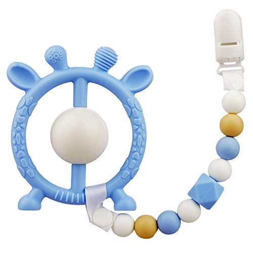 Baby Kinderkrankheiten Spielzeug, BPA frei Silikon Babys Beißring, Schnuller Clip sensorische Baby Beissring mit Rassel Baby Dusche Säuglings Neugeborenen Geschenke