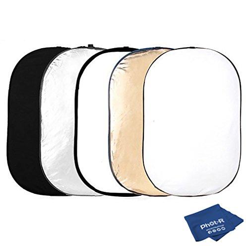 Phot-R 150 x 200 cm (60 x 80 Zoll) Pro 5-in-1 Klapp-Professional Photography Mobile Fotostudio Circular Licht-Reflektor Panels Kunststoff mit Tragetasche schwarz + Mikrofaserstoff