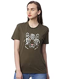 Wolfpack Tiger Army Green Round Neck Short Sleeve 100% Cotton Girls/Womens T-Shirt for Animal Lovers - Glow at Night