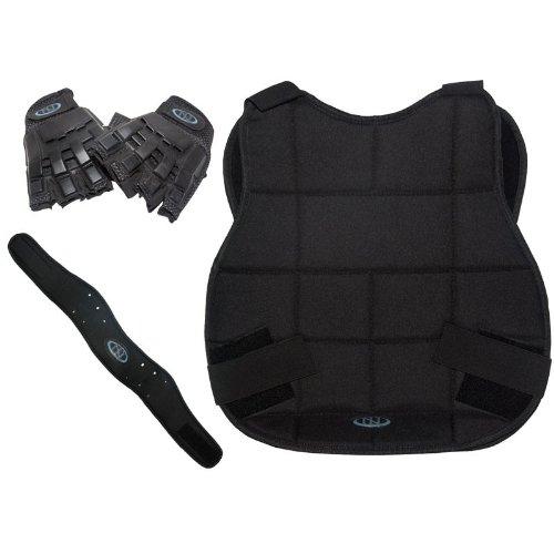 Legion Paintball Schutzset - schwarz mit Halbfinger-Handschuh des Herstellers New Legion