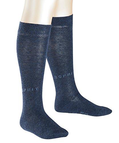 ESPRIT Kinder Kniestrümpfe Foot Logo 2-Pack, Baumwollmischung, 2 Paar, Blau (Navy Blue Melange 6490), Größe: 31-34