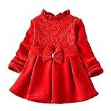 Selou Kind Mädchenm Kleid aus Spitze mit Plisseefalten Rosa und Samt Pullover Kleines Kleid Oben Warm und süß Lange Ärmel Hemd Sweatshirt Pullover