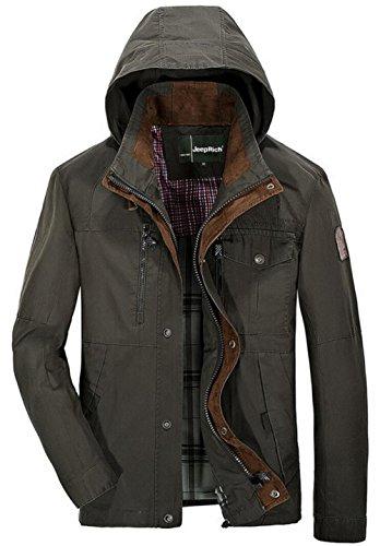 JZWXX Hommes Cool Zip Up Hooded Military Biker Jacket Parka extérieur Casual beaucoup de vestes Manteau coat Blousons FR5581 armée-verte
