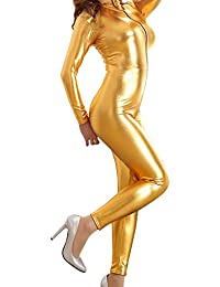 47e40c13fd3b Women Wet Look Jumpsuit Zipper Front Catsuit Open Crotch Lingerie Tight  Bodysuit Long Sleeve Erotic Faux