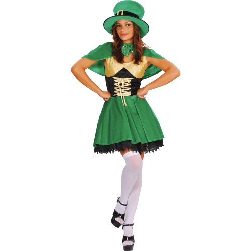 Outfits Irish (Lucky Leprechaun Adults Fancy Dress Ladies Outfit)