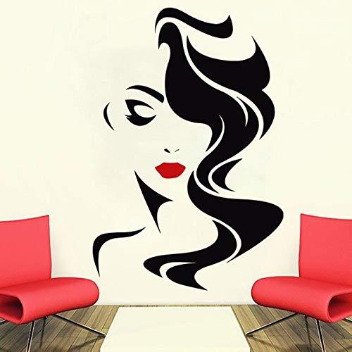 Dongwall Vinyl Wandtattoo Fensteraufkleber Schönheitssalon Frau Gesicht Friseursalon Frisur Stil Haar Gilrs Wand Fensteraufkleber 74 * 111 cm