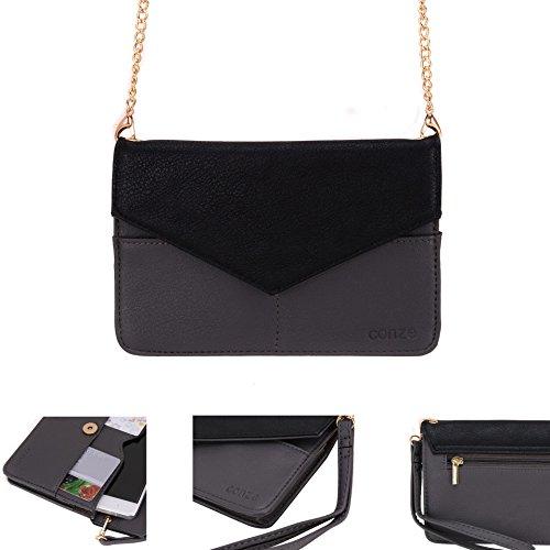 Conze da donna portafoglio tutto borsa con spallacci per Smart Phone per Motorola Moto G 4G Grigio grigio grigio