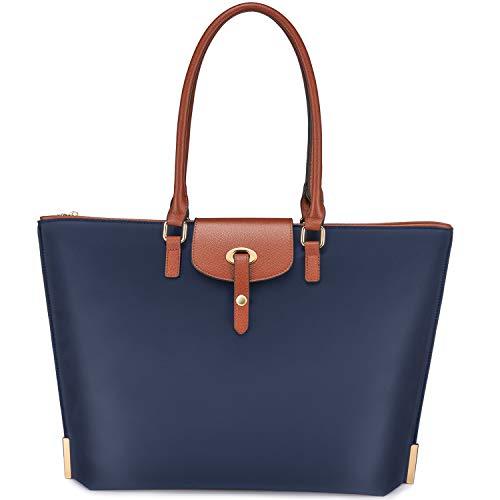 Realer Laptop Damen Handtasche 15,6 Zoll Arbeit Shopper Tasche Nylon Große Leichte Stilvolle Frauen Handtaschen Elegant Taschen Blau für Business/Schule/Reise/Einkauf (Damen Geldbörse Laptop-tasche)