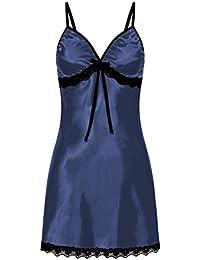 Lenfesh Camisón para Mujer Suave Lencería de Dormir Sexy Mujer Talla Grande Camisola con Tirantes Ropa