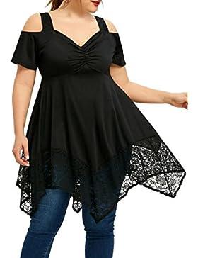 FAMILIZO Camisetas Mujer Tallas Grandes ❤️ XL~5XL Verano Blusa Mujer Elegante Camisetas Mujer Manga Corta Algodón...