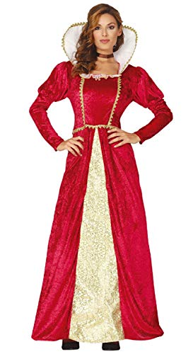 Ladies Red & Gold Royal Regal Historical Tudor Queen Medieval TV Book Film Carnival Fancy Dress Costume Outfit (UK 14-16)