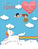 """Fall in Love: Pregnancy Books for First Time Dads: Unicorn Blue Sky, Pregnancy Record Book Large Print 8.5"""" X 11"""" Pregnancy Memory Book with Monthly to Do Notes"""
