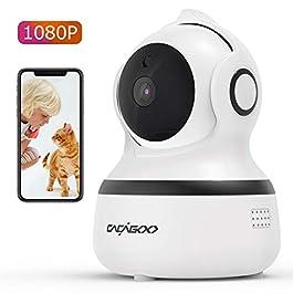 CACAGOO Telecamera Wi-Fi Interno, 1080P Videocamera Sorveglianza Interno Wifi con Audio Bidirezionale e Visione Notturna, Rilevamento Movimento e Allarme via App, Baby monitor