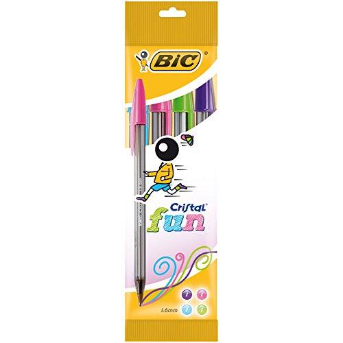 BIC Cristal Fun - Pack de 4 bolígrafos, colores fashion
