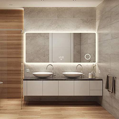 BJYX Baño de maquillaje Espejo de baño con luces montado en la pared retroiluminada Espejo, espejo...