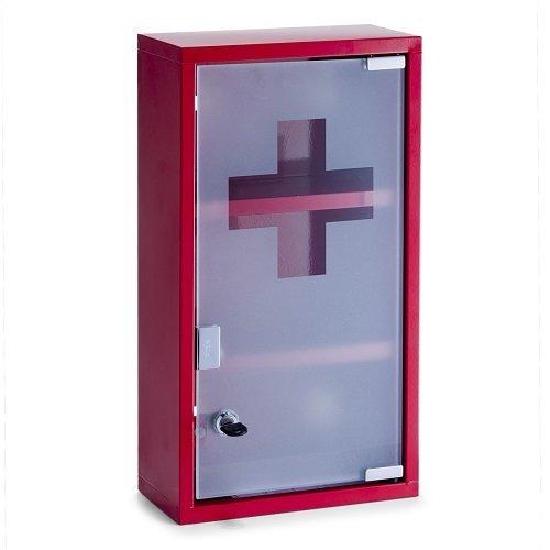 zeller-18468-armadietto-pronto-soccorso-di-metallo-25x12x45-cm-colore-rosso
