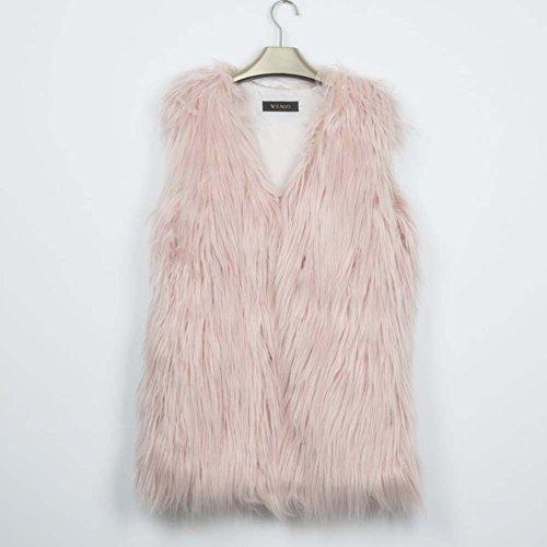 wildeal Fashion Winter Frauen Webpelz lang Weste Gilets Warm Coat Weste Veste Damen Mädchen Casual Cardigan Westen Weste Plus Größe, rose, XXX-Large