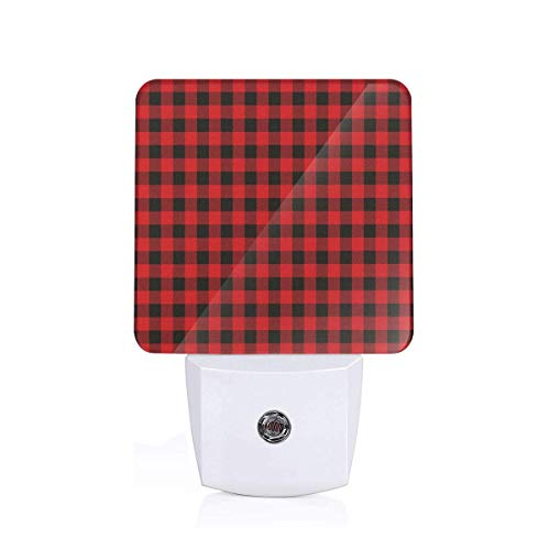 Lumberjack Fashion Buffalo Style Checks Pattern Retro Style With Grid Composition Plug-in LED Night Light Lamp with Dusk to Dawn Sensor, Night Home Decor Bed Lamp