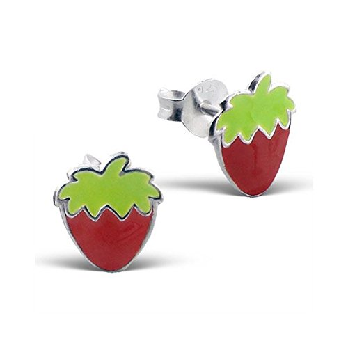 Silvadore - 925 Sterling Silver Childrens Stud Earrings - Strawberry Light Green - Butterfly Clasp - Free Gift Boxed