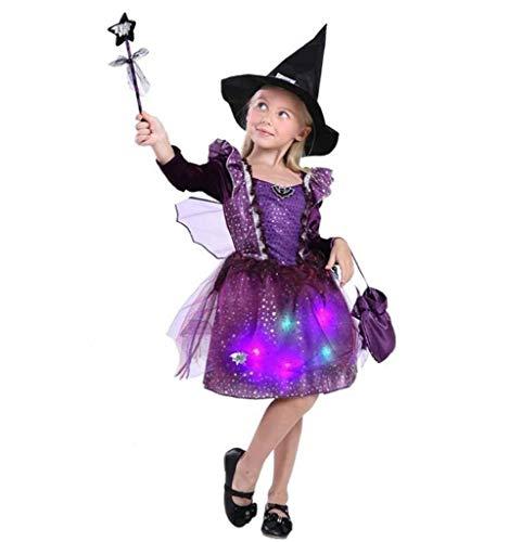 Wantschun Mädchen leuchten Led Halloween Kostüm Set Hexe Kleid + Hut + Beutel + Zauberstab + Maske EU Größe 140 (Etikettengröße 140)