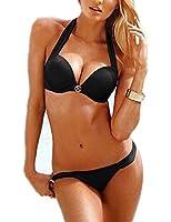 Aidonger Frauen Sexy Push-up Bandage Schöne Bademode mit Damen Hot Metall Dekoration Bedeanzug Mädchen Sommer Bikini-Sets mit Stahlstütze Brustpolster Cups Bikini