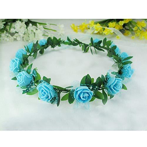 Fang-denghui, 1 stück Mode mädchen Mode schöne Rose Blume Stirnband für mädchen Haarschmuck Hochzeit Prinzessin Garland (Color : Blue) China Blue Garland