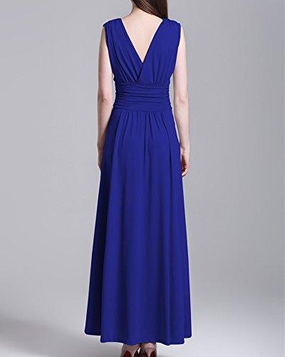 Femme Longue Robe De Soirée Col en V Cocktail Bleu