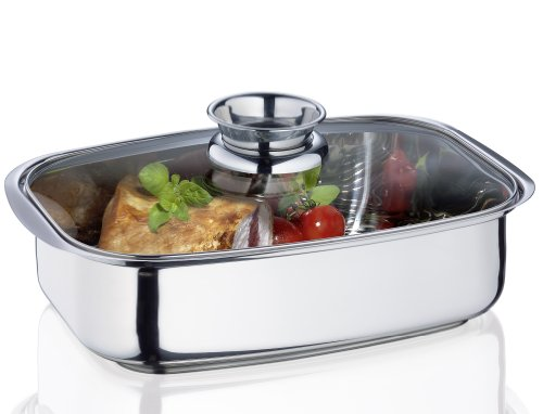 Küchenprofi 2386002836 Aromabräter mit Glasdeckel Vital, Edelstahl, silber, 24,1 x 10,2 x 35,6 cm