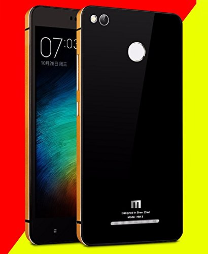 HIGAR Luxury Glass Back Aluminium mobile Battery back Panel replacement Case Cover for Xiaomi Redmi 3S Prime With Higar Retail Box - Gold