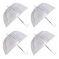 GadgetKing 4 x Set Rain Umbrellas Dome Birdcage Transparent PVC Wedding Brolly Clear Bubble Bubble White Handle And Spike Brolly Walking Ladies Mens Unisex Party Parasol Rain Bridesmaid Bridal