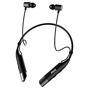Mivi Collar Wireless Bluetooth 5.0 Neckband Earphones with Mic. Bluetooth Headset Wireless with Stereo Sound, Booming Bass, Long Battery Life, Voice Assistant and IPX4 Sweat Proof