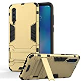 XIFAN Ultra Slim 2 in 1 Stand Case for Xiaomi Mi 9, Armor Tough PC Fighter Rugged + Soft TPU Silicone Case Cover Shell, Gold