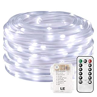 LE 10m 120 LED Dimmable Rope Lights, Battery Powered 8 Modes Waterproof Daylight White String Lights for Garden, Patio, Party, Christmas, Outdoor Decoration