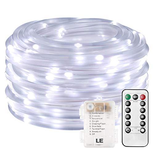 LE Cadena de luces de cuerda Exteriores 10m 120 LED 8 modos Resistente al agua Blanco frío, Manguera de luces de navidad