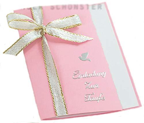 10 x Einladung Einladungskarte Taufe Einladungen KT002 in verschiedenen Farben erhältlich (rosa)
