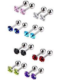 8 Pairs 18 Gauge Boucles d'Oreilles en Acier Inoxydable Boucle Tragus Cartilage Zircon Cubique Boucles d'Oreilles Hélice Tragus Hélice Cartilage pour Femme, 8 Colors