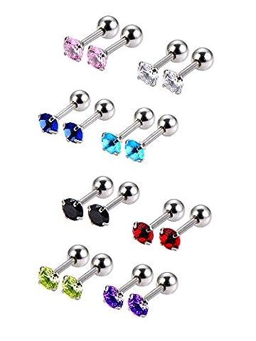 Mudder 8 Pair 18 Gauge Steel Cubic Zirconia Stud Earring Barbell Cartilage Tragus Helix Earrings, 8