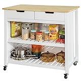 SoBuy FKW74-WN,Carrito de Cocina con 2 cajones y 2 estantes,con Tablero Extensible,L100 x P60 x H94cm,ES