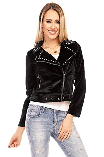 Mayaadi Damen weiche Übergangs-Jacke Nieten-Jacke Luxus Biker-Jacke Motorrad-Jacke Gürtel R6452 Schwarz S (Rocker Nieten-gürtel)