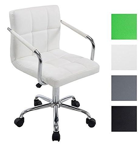 CLP Chaise de bureau LUCY V2 similicuir, à roulettes, accoudoirs, ergonomique, revêtement de haute qualité blanc