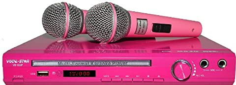 VS-600 Pink Vocal-Star Karaoke Machine With 2 Microphones & 150 Girls Party Songs