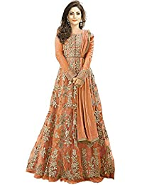 65849acef0 Clothfab woman's Net Heavy Embroidered with Stone work Semi-Stitched  Anarkali Gown (Orange_Free Size